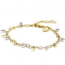 ZINZI-Sterling-Silver-Fantasy-Bracelet-14K-Yellow-Gold-Plated-White-Pearls