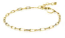 ZINZI-Sterling-Silver-Bracelet-14K-Yellow-Gold-Plated-Paperclip-Chain