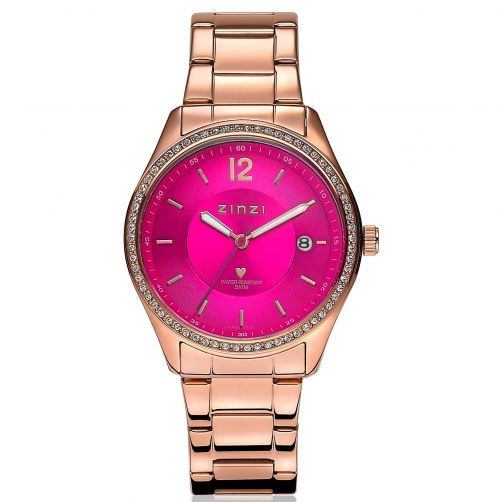 ZINZI-Watch-Pink-Dial-and-Rose-Golden-Band-White