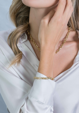 ZINZI-Sterling-Silver-Chain-Bracelet-14K-Yellow-Gold-Plated-Rolo-Chain