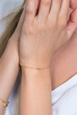 ZINZI-Sterling-Silver-Bracelet-14K-Yellow-Gold-Plated-Bars-and-Beads