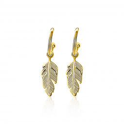 ZINZI-Sterling-Silver-trendy-EarRings-14K-Yellow-Gold-Plated-Feather